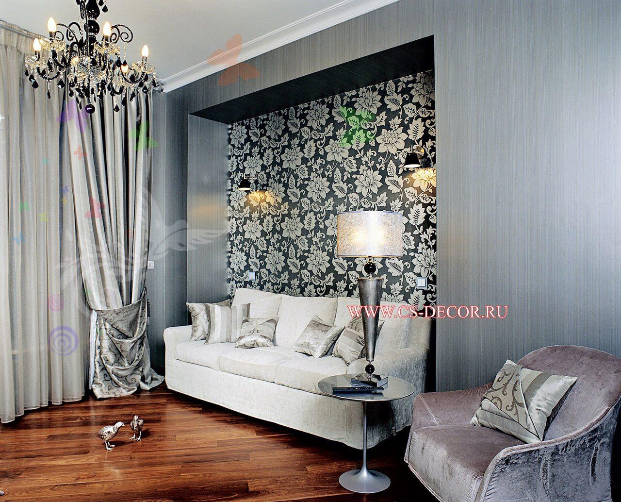 Дизайн зала в серебристых тонах